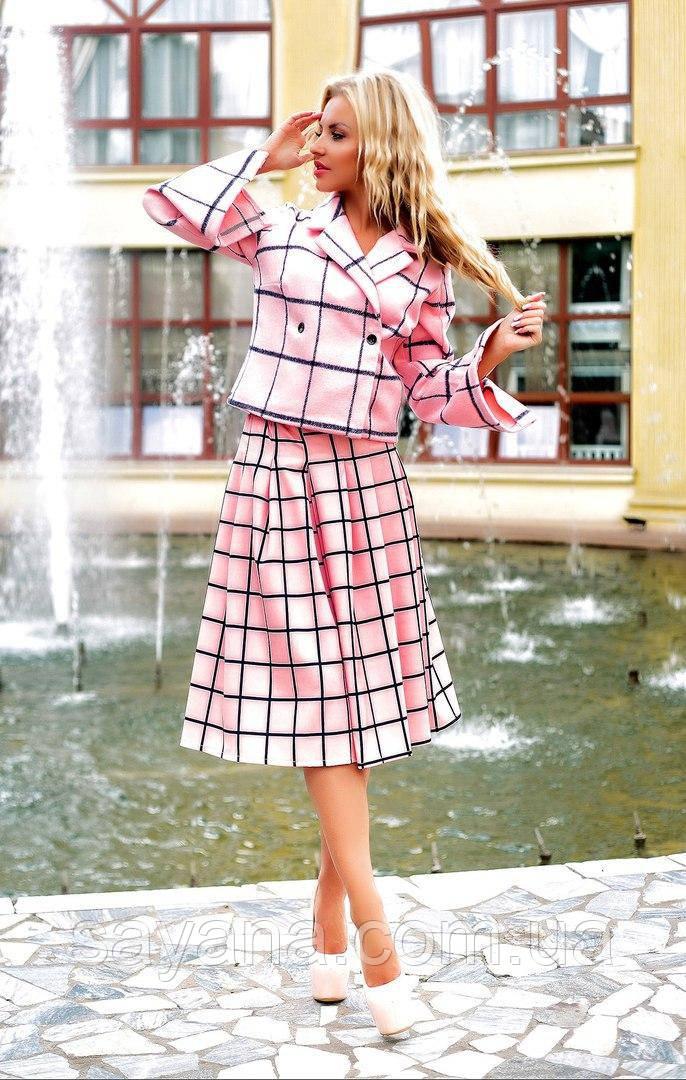 Женский стильный костюм: юбка с жакетом в расцветках. ПН-12-0817