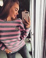 Женский свитер с круглым вырезом в полоску