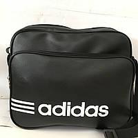 Сумка спортивная Adidas черная (кожзам) RS оптом 27*34см
