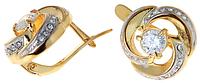 """Серьги """"Фонтан"""" с фианитами, покрытые золотом с родием (a628q1a0)"""