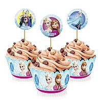 """Топперы для капкейков, десертов и кексов """"Холодное сердце"""", 6 шт./уп."""