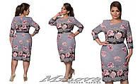 """Красивое платье футляр """"Рината"""" большого размера рисунок с цветами от фабрики Минова размер 52-58"""