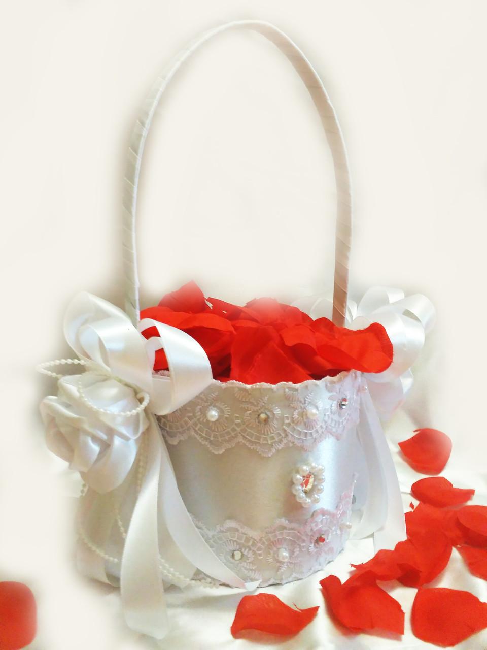 Свадебная корзинка для лепестков роз Wedding белая