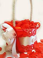 Свадебная корзинка для лепестков роз Wedding красная
