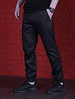 Мужские брюки черные с манжетами на резинке, водоотталкивающая ткань