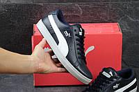Кожаные кроссовки Puma Suede, черно-белые, мужские