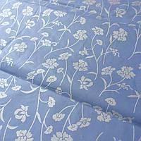 Тик с серебряными цветочками на голубом фоне, ширина 220 см, фото 1