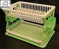 Пластиковая сушилка для посуды двухъярусная С019 бело-салатовая