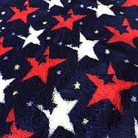 Махра велсофт, красные и белые звезды на синем фоне, фото 1