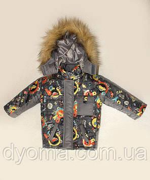 """Детский зимний костюм для мальчиков """"Машинки"""", куртка+полукомбинезон, фото 2"""