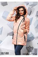 Удлиненная стеганная демисезонная куртка с капюшоном пудра персик тренд Balani ( 42,44,46)