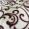 Махра велсофт з коричневим вензелем на молочному тлі
