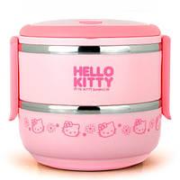 Круглый ланч бокс двухъярусный Hello Kitty розовый