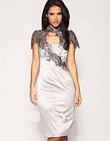 Стальное стильное платье Karen Millen с гипюровым декором KM70003