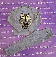 Модный прогулочный костюм для девочки Эрика р.134-146.серый