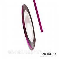 Цветная cамоклеющаяся лента для дизайна ногтей, малиновый голографик, №13