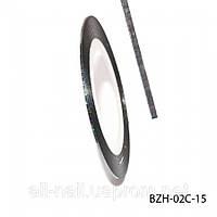 Цветная cамоклеющаяся лента для дизайна ногтей, черный голографик, №15