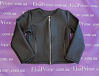 Куртка кожзам стеганый для девочки р.116-140 чёрный