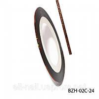 Цветная cамоклеющаяся лента для дизайна ногтей, бронза голографик, №24
