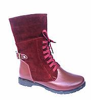 Бордовые женские ботинки на шнурках
