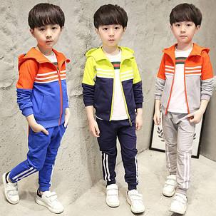 Спортивный детский костюм  три полосы для мальчиков, фото 2