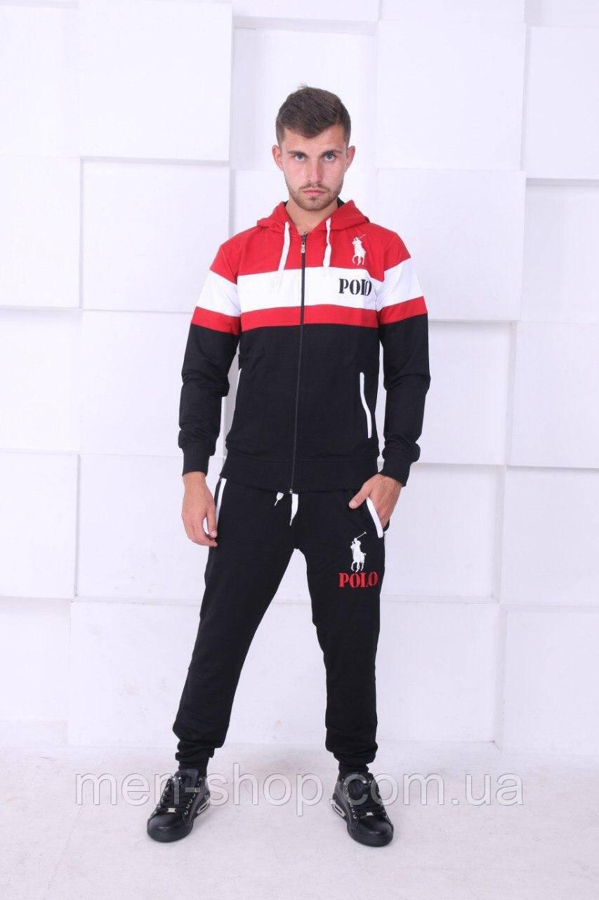 Спортивный костюм для мужчин красный белая полоска
