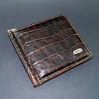 Зажим для купюр кожаный кофе магнитный Desisan 208-19 Турция