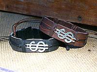 Денежные парные браслеты на руку для двоих из кожи ДОЛЛАР, ручная работа