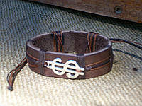 Денежный браслет на руку из кожи ДОЛЛАР, ручная работа