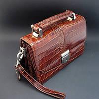 Барсетка кожаная мужская классика коричневая Desisan 1100-15 Турция, фото 1