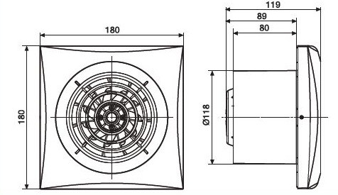 Размер вентилятора Soler & Palau SILENT-200 CZ IVORY