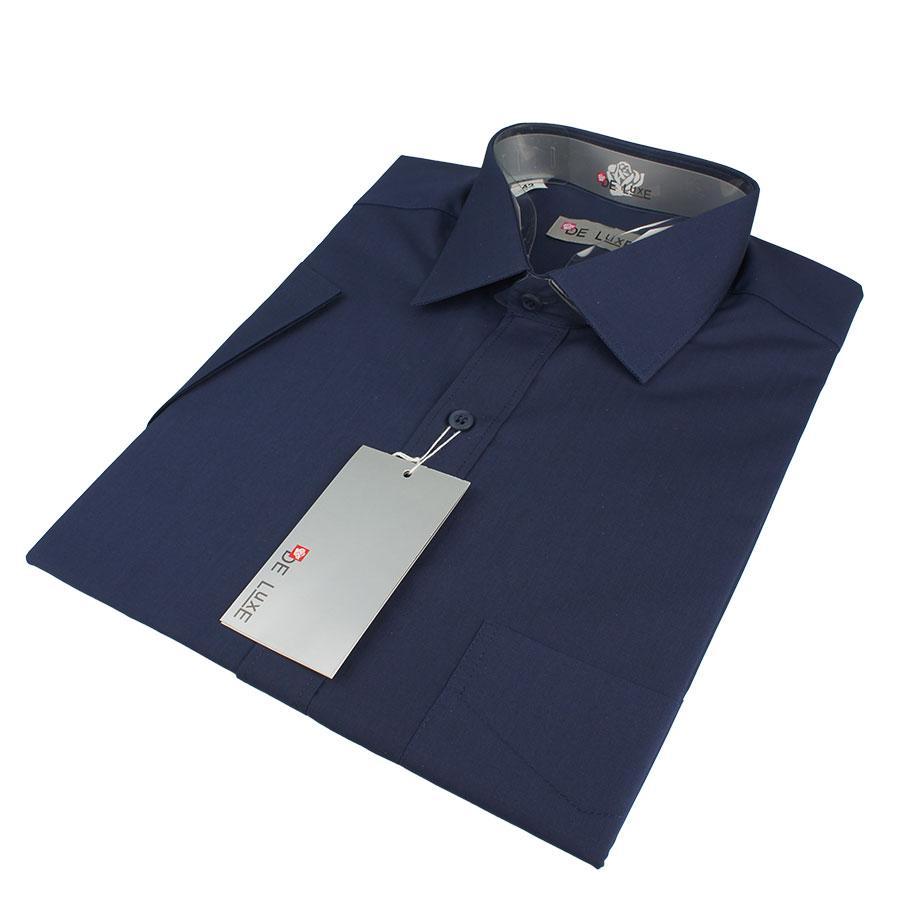 Мужская классическая рубашка De Luxe 204К чернильная (короткий рукав)