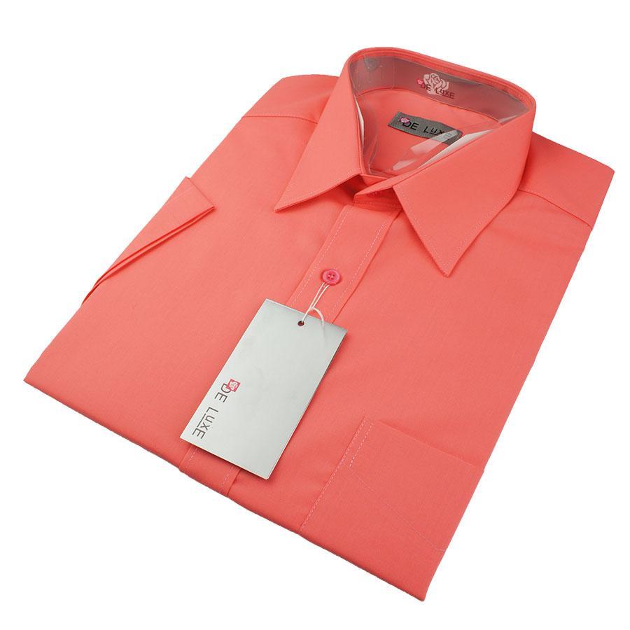 Мужская классическая рубашка De Luxe 421К коралловая(короткий рукав)