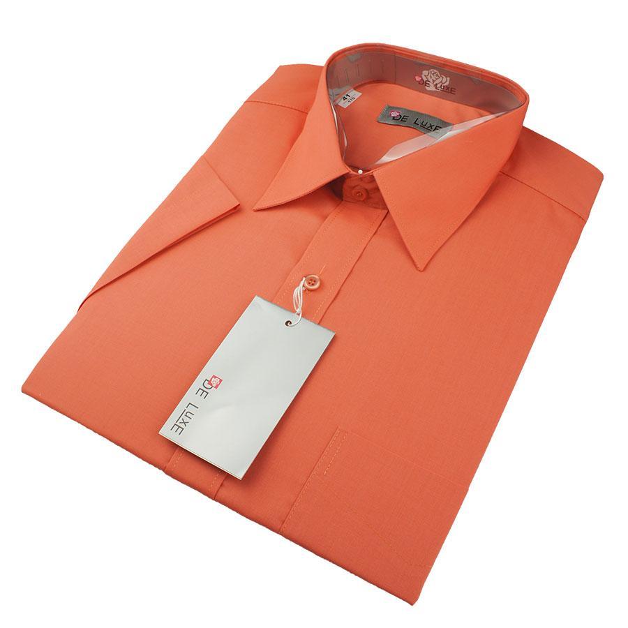 Мужская классическая рубашка De Luxe 119К оранжевая (короткий рукав)
