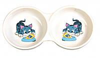 Trixie Миска Ceramic Double Bowl для кішок подвійна, кераміка, 0.15 л