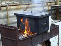 Коптильня для горячего копчения с гидрозатвором окрашена в черный цвет, матовая (550х320х280)