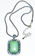 Кулон, белый металл, зеленый нефрит 5_26_17a1