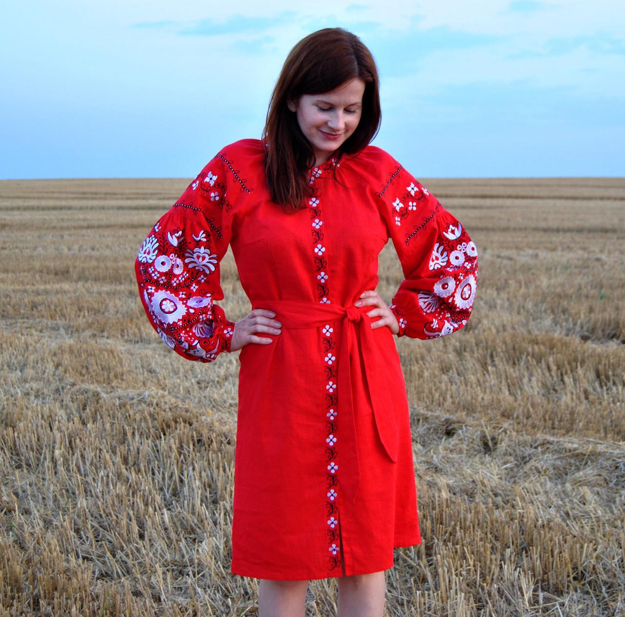 44fa76dfd03680 Вишите Вишите лляне червоне плаття з машинною вишивкою: продажа ...