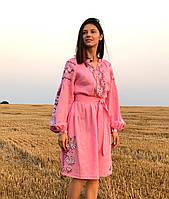 Вишите лляне рожеве плаття з машинною вишивкою ed4f25e9a213d