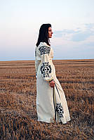 Вишите довге лляне лимонного кольору плаття з машинною вишивкою, фото 1