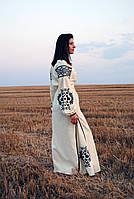 Вишите лляне довге лимонного кольору плаття з машинною вишивкою, фото 1