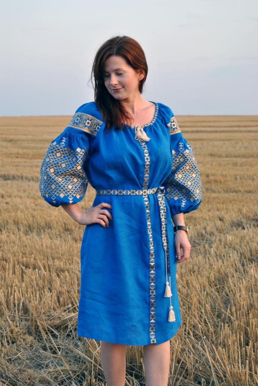 Вишите лляне синє плаття з машинною вишивкою - Інтернет-магазин вишиванок  для всієї сім  e74c5be8a3d38
