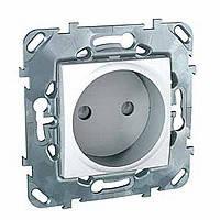 Розетка без заземления с шторками белая Schneider Electric - Unica (Шнейдер Электрик Уника mgu3.033.18), фото 1