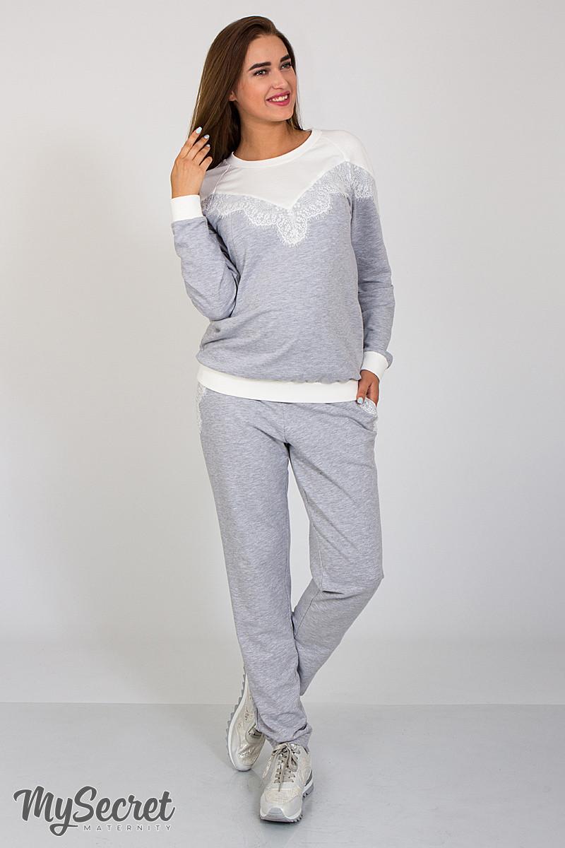 77733e0c5d6b Оригинальные спортивные брюки для беременных Irhen lace, серый меланж с  кружевом ...
