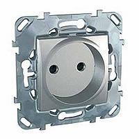Розетка без заземления с шторками алюминий Schneider Electric - Unica (Шнейдер Электрик Уника mgu3.033.30)
