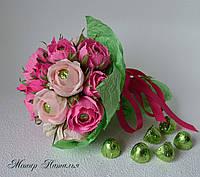 """Букетик из конфет """"Розовые розы"""", фото 1"""