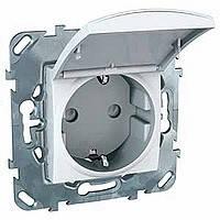 Розетка с заземлением и крышкой белая Schneider Electric - Unica (Шнейдер Электрик Уника mgu3.037.18TA), фото 1