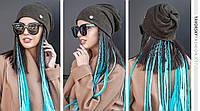 Молодежная шапка  с отверстием для волос цвет оливковый
