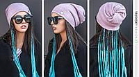 Молодежная шапка  с отверстием для волос цвет розовый