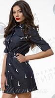 Платье джинсовое приталенное на резинке S M L c карманами